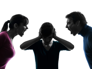 family father mother daughter dispute screaming silhouette